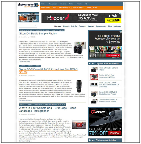 PhotographyREVIEW.com - Articles Index Page
