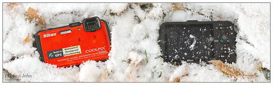 Nikon Coolpix AW100 In The Snow - Front & Back
