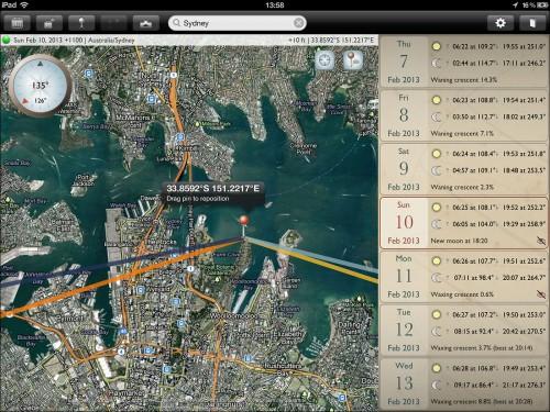 The Photographer's Ephemeris App - Sydney, Australia iPad Screenshot