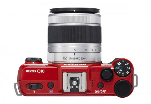 Pentax Q10 - Top View With New 15-45mm f/2.8 Telephoto Zoom Lens - Red