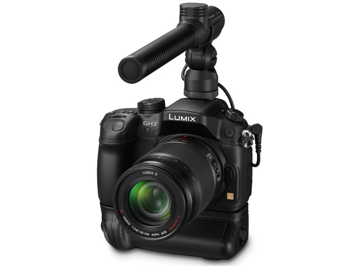 Panasonic Lumix GH3 With Optional Vertical Grip & Shotgun Mic