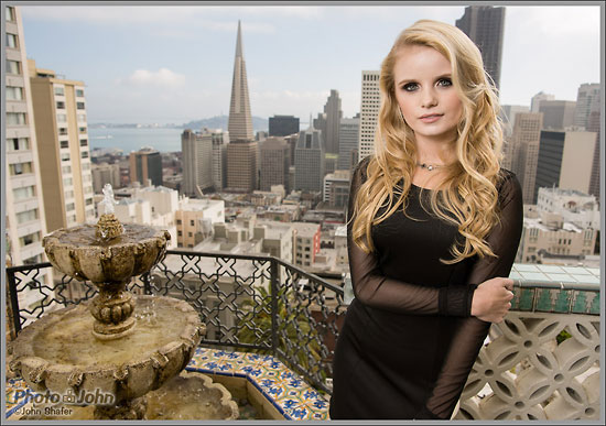 Sony A99 Sample Photo - Model & San Francisco Skyline