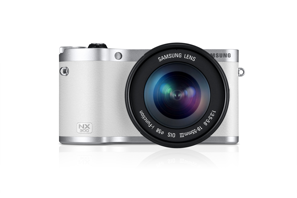 Samsung NX300 Mirrorless Camera - Front View - White