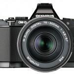 New Olympus 75-300mm f/4.8-6.7 II Zoom Lens On Black OM-D E-M5 - Front