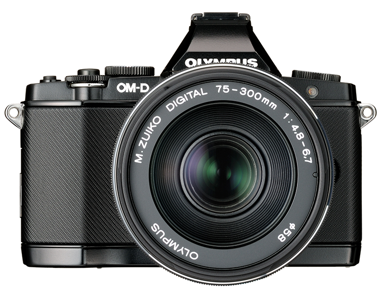New Olympus 75-300mm f/4.8-6.7 II Zoom Lens On Black OM-D E-M5 - Front