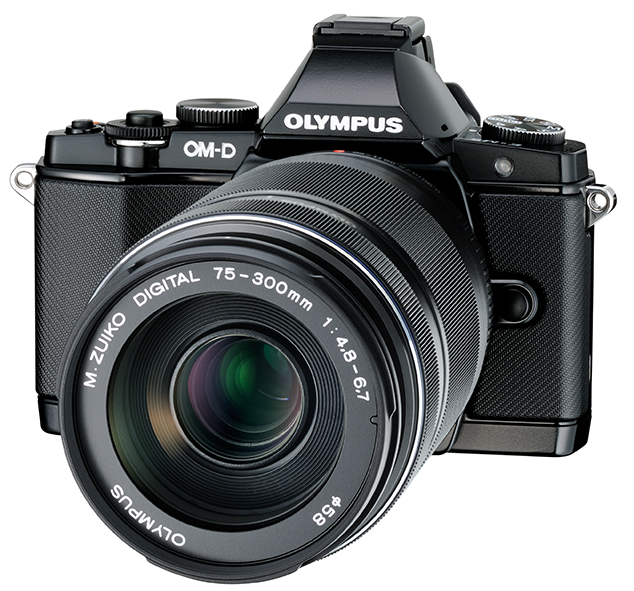 New Olympus 75-300mm f/4.8-6.7 II Zoom Lens On Black OM-D E-M5 - Angle