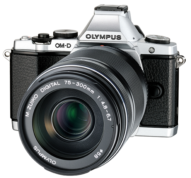 New Olympus 75-300mm f/4.8-6.7 II Zoom Lens On Silver OM-D E-M5 - Angle