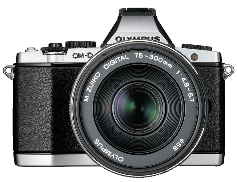 New Olympus 75-300mm f/4.8-6.7 II Zoom Lens On Silver OM-D E-M5 - Front