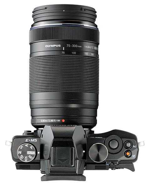 Top View - Olympus M.Zuiko ED 75-300mm f/4.8-6.7 II Zoom Lens & OM-D E-M5 Camera
