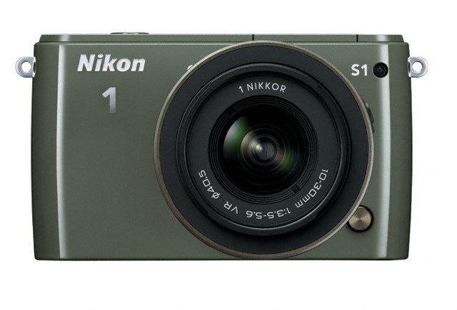 Nikon 1 S1 Mirrorless Camera - Front - Khaki