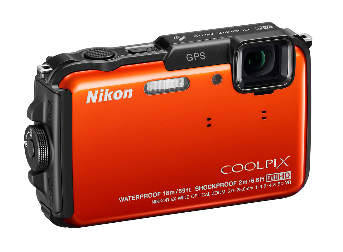 Nikon Coolpix AW110 Rugged Point-and-Shoot - Right - Orange