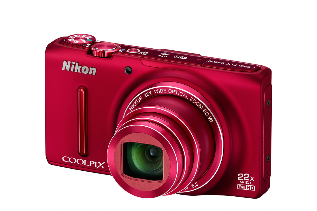 Nikon Coolpix S9500 Pocket Superzoom - Left Angle View - Red