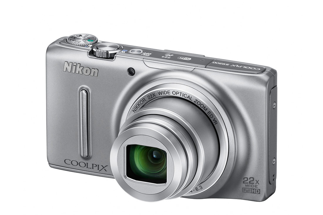 Nikon Coolpix S9500 Pocket Superzoom - Left Angle View - Silver