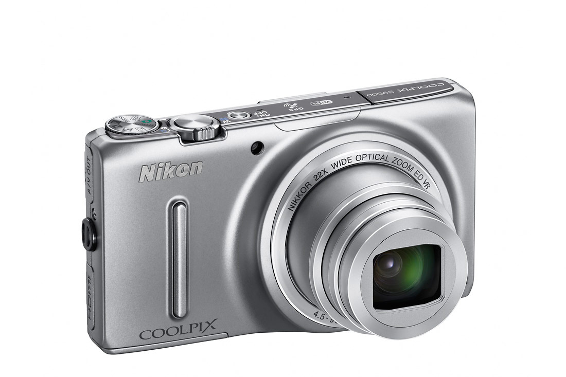 Nikon Coolpix S9500 Pocket Superzoom - Right Angle View - Silver