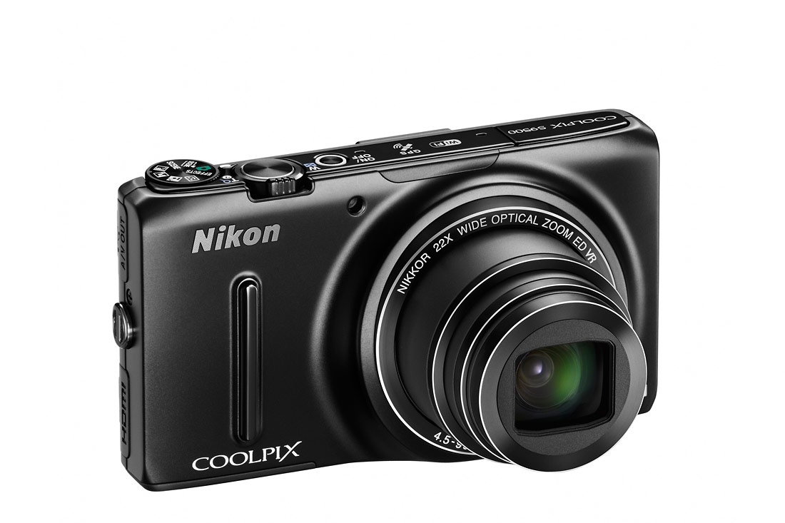 Nikon Coolpix S9500 Pocket Superzoom - Right Angle View - Black