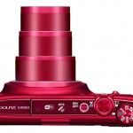 Nikon Coolpix S9500 - Top View With 22x Zoom Lens - Red