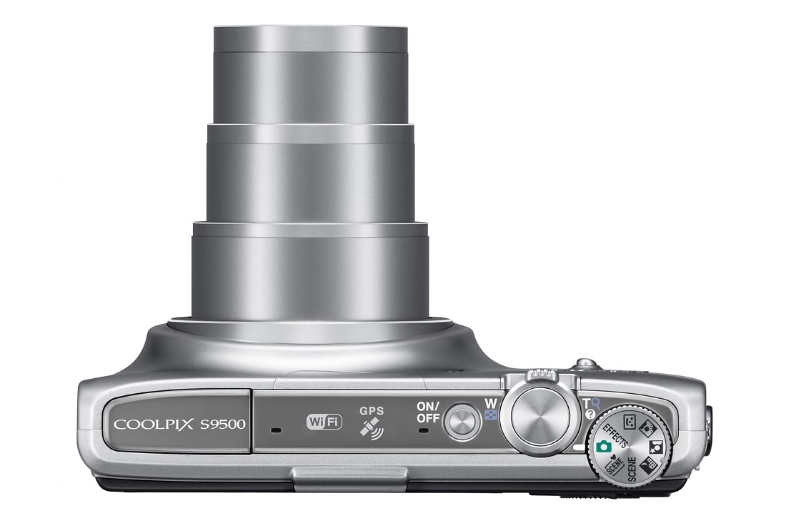 Nikon Coolpix S9500 - Top View With 22x Zoom Lens - Silver