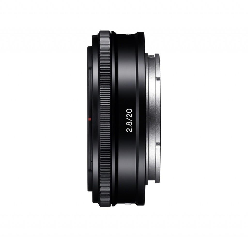 Sony 20mm f/2.8 E-mount Pancake Lens - Side View