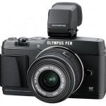 Olympus E-P5 Pen Camera - Front View With VF-4 Electronic Viewfinder