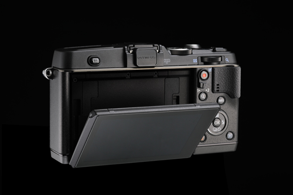 Olympus E-P5 Pen Camera - Tilting Touchscreen LCD - Down