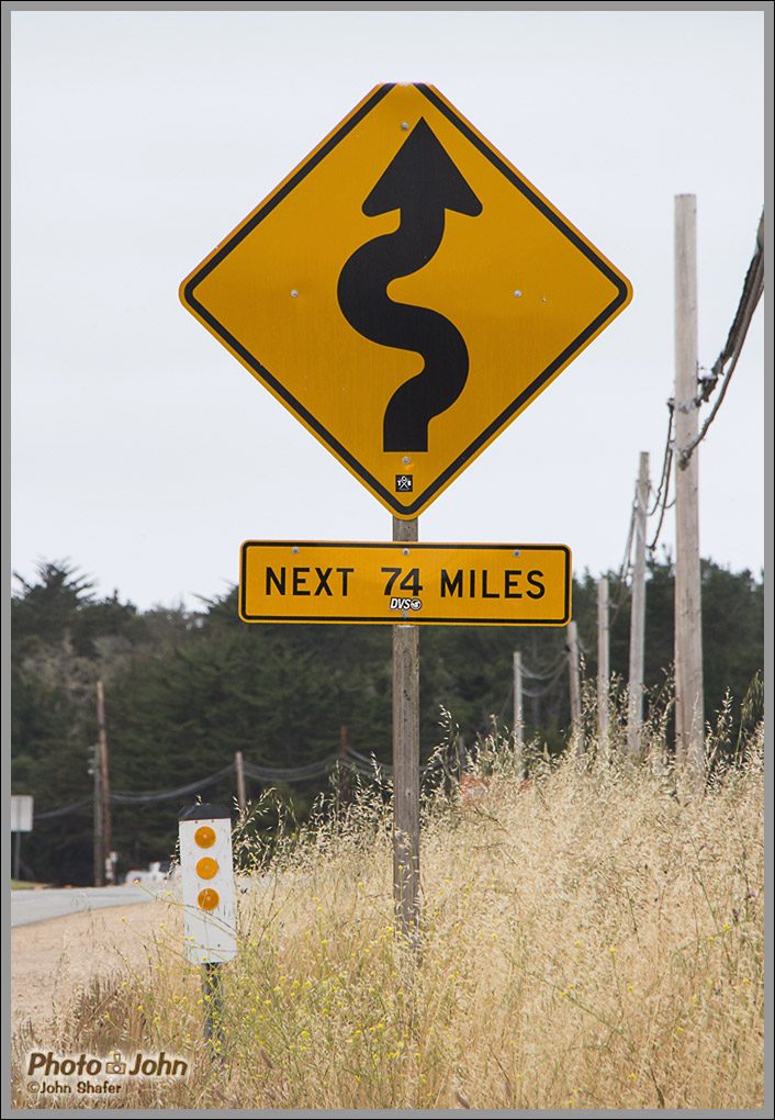 Curvy Road Sign - Big Sur, California