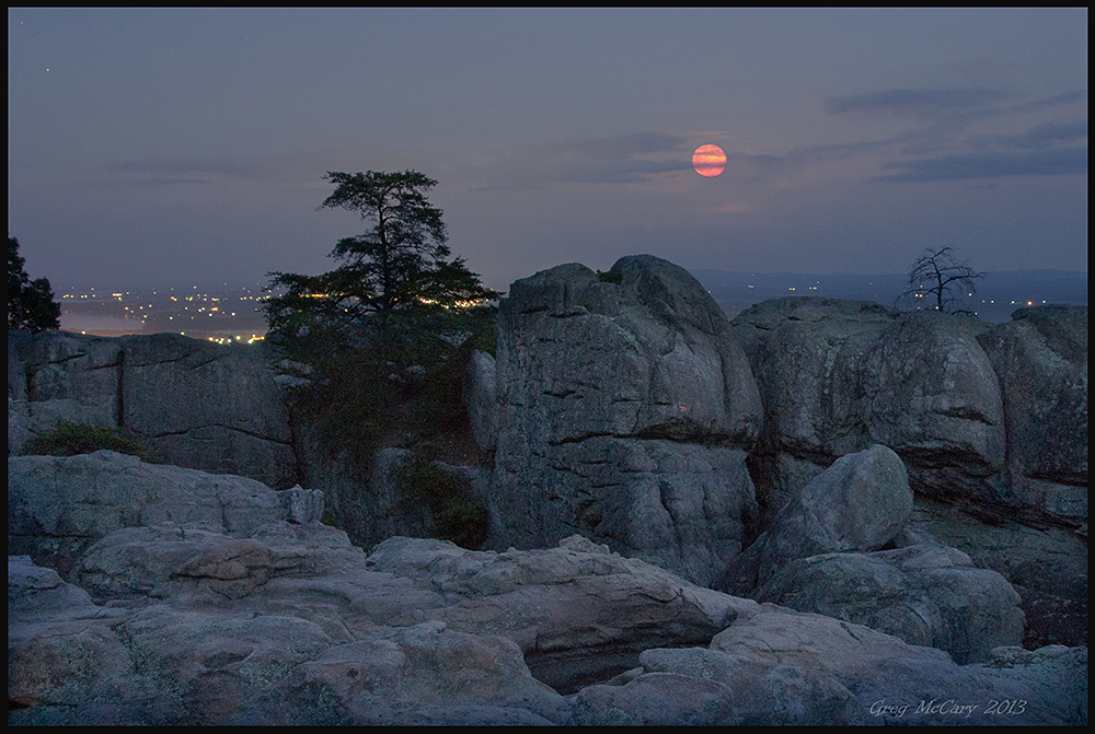 Supermoon Over Cherokee Rock Village by Greg McCary