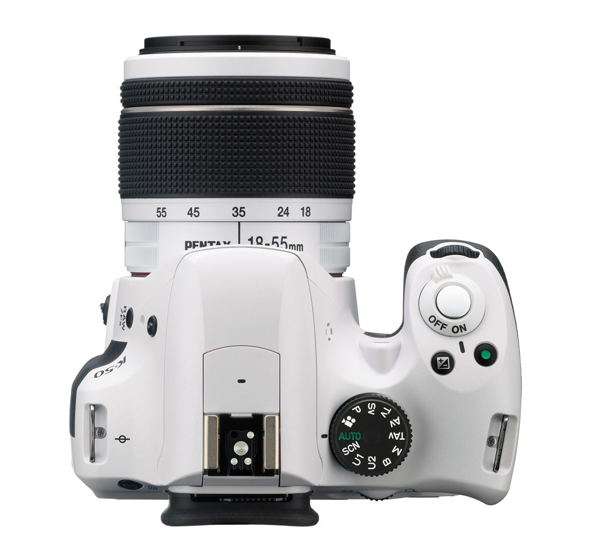 White Pentax K-50 DSLR - Top View With White Kit Lens