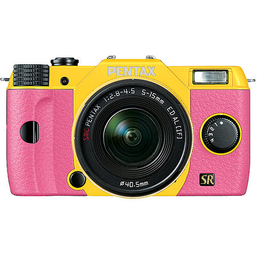 Pink & Yellow Pentax Q7 Interchangeable Lens Mirrorless Camera