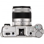 "Pentax Q7 Mirrorless Camera - Top View With 3x ""02"" Kit lens"