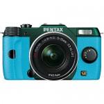 Blue & Metallic Green Pentax Q7 Mirrorless Camera