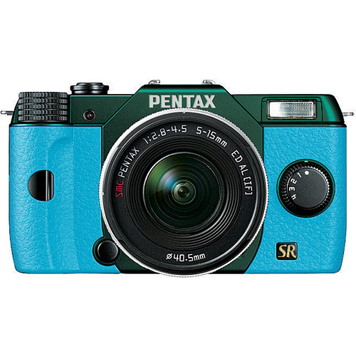 Blue & Metallic Green Pentax Q7 Mirrorless Camera