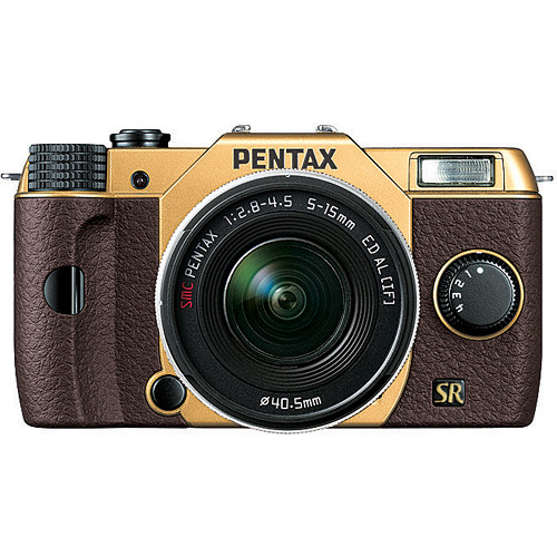 Gold & Brown Pentax Q7 Mirrorless Camera