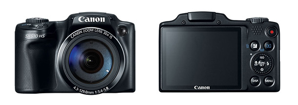 Canon PowerShot SX510 HS Superzoom Camera - Front & Back