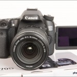 Canon EOS 70D - Front with LCD Display In Self-Portrait Position