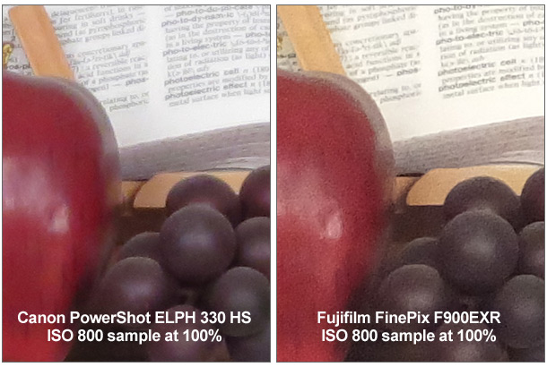 Fujifilm FinePix F900EXR ISO 800 100% Crop Comparison