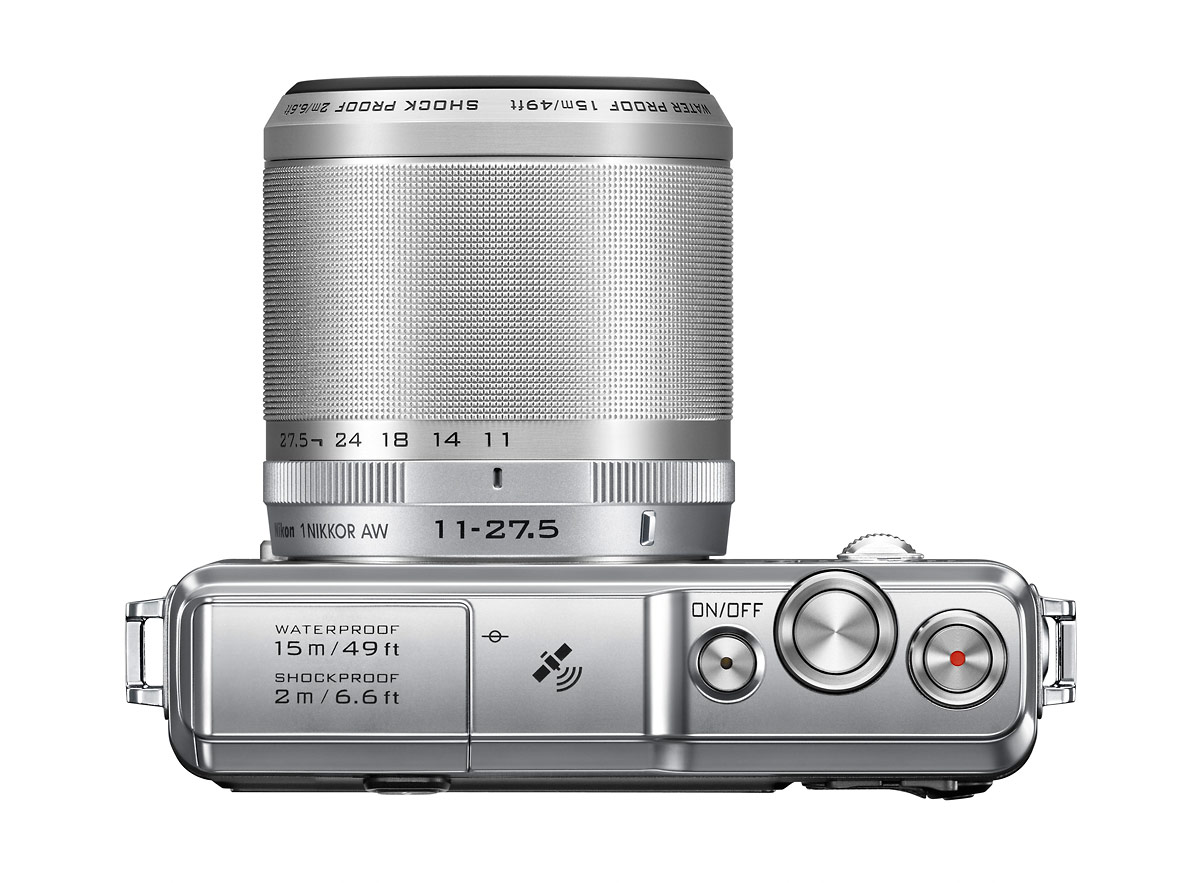 Nikon 1 AW1 Mirrorless Camera - Top View - Silver