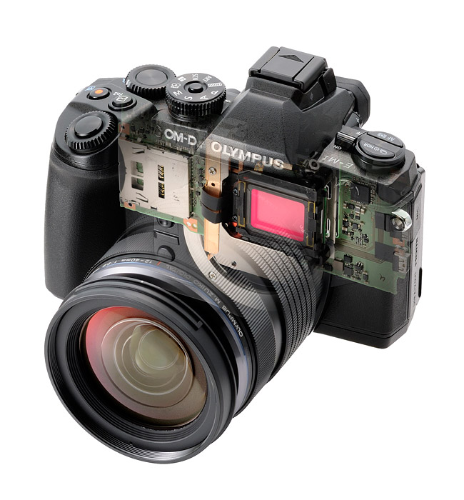 Olympus OM-D E-M1 Micro Four Thirds Camera - Transparent View