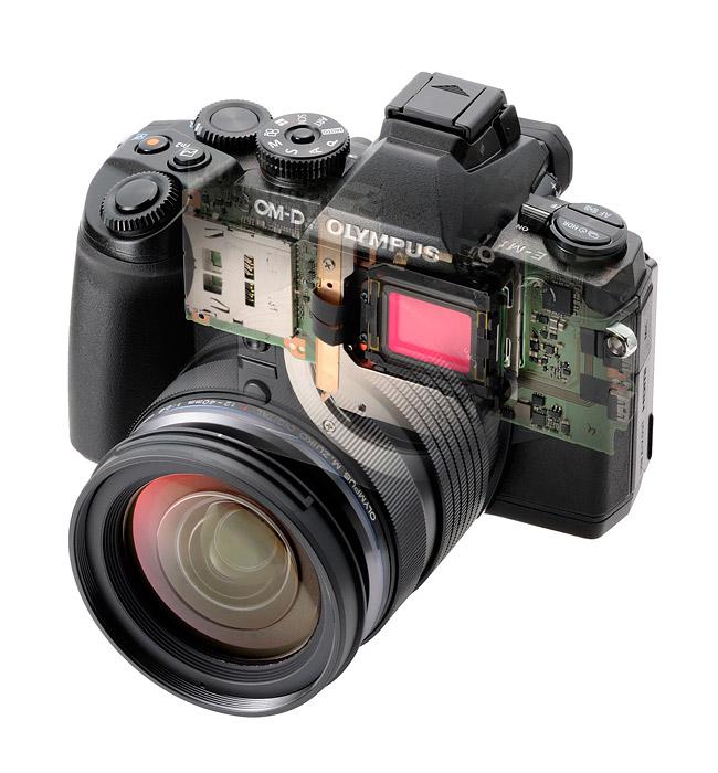 Olympus OM-D E-M1 Micro Four Thirds Camera - Transparent View
