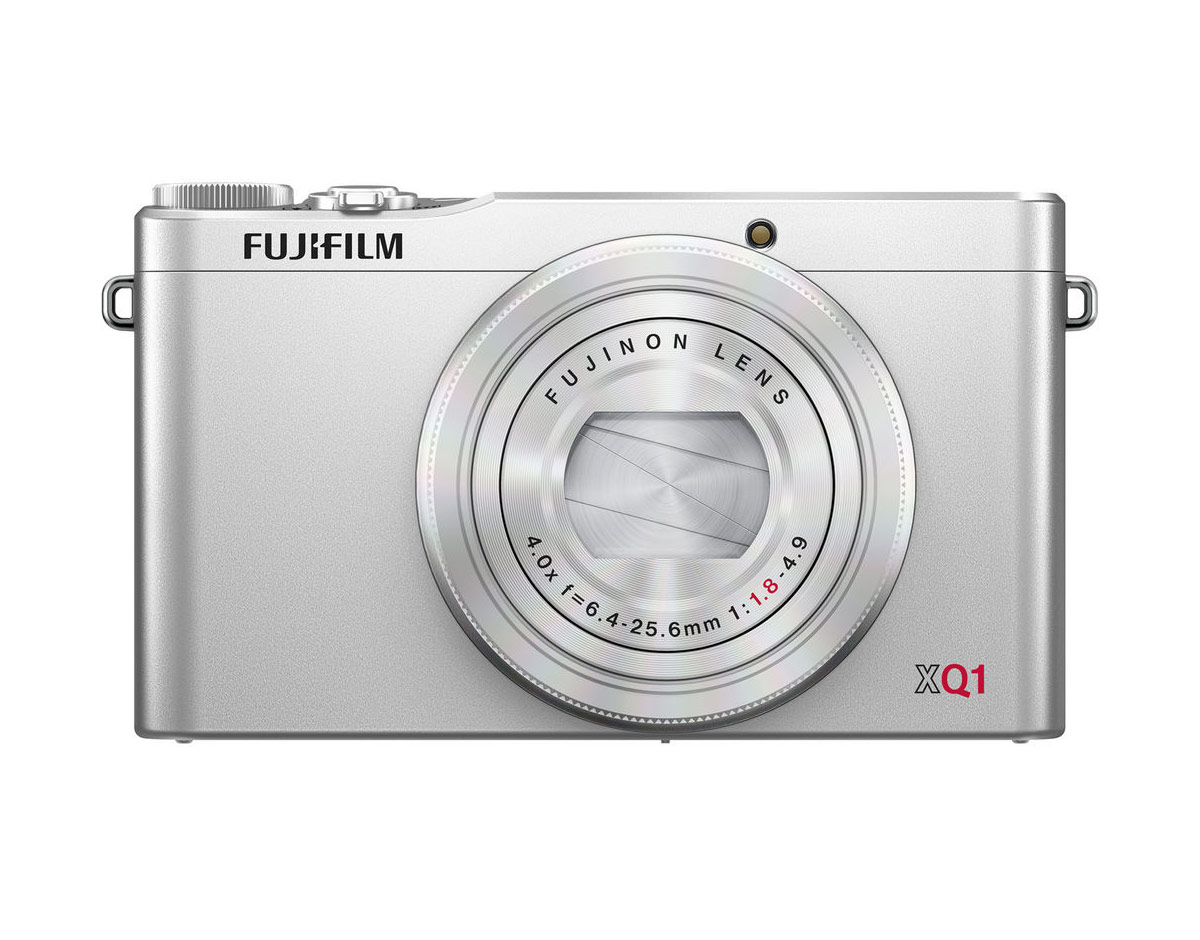 Silver Fujifilm XQ1 High-End Pocket Camera - Front View - Off
