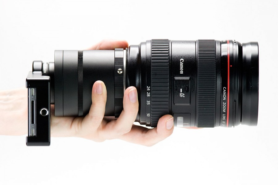 iPhone SLR Mount in Hand With Canon Zoom Lens