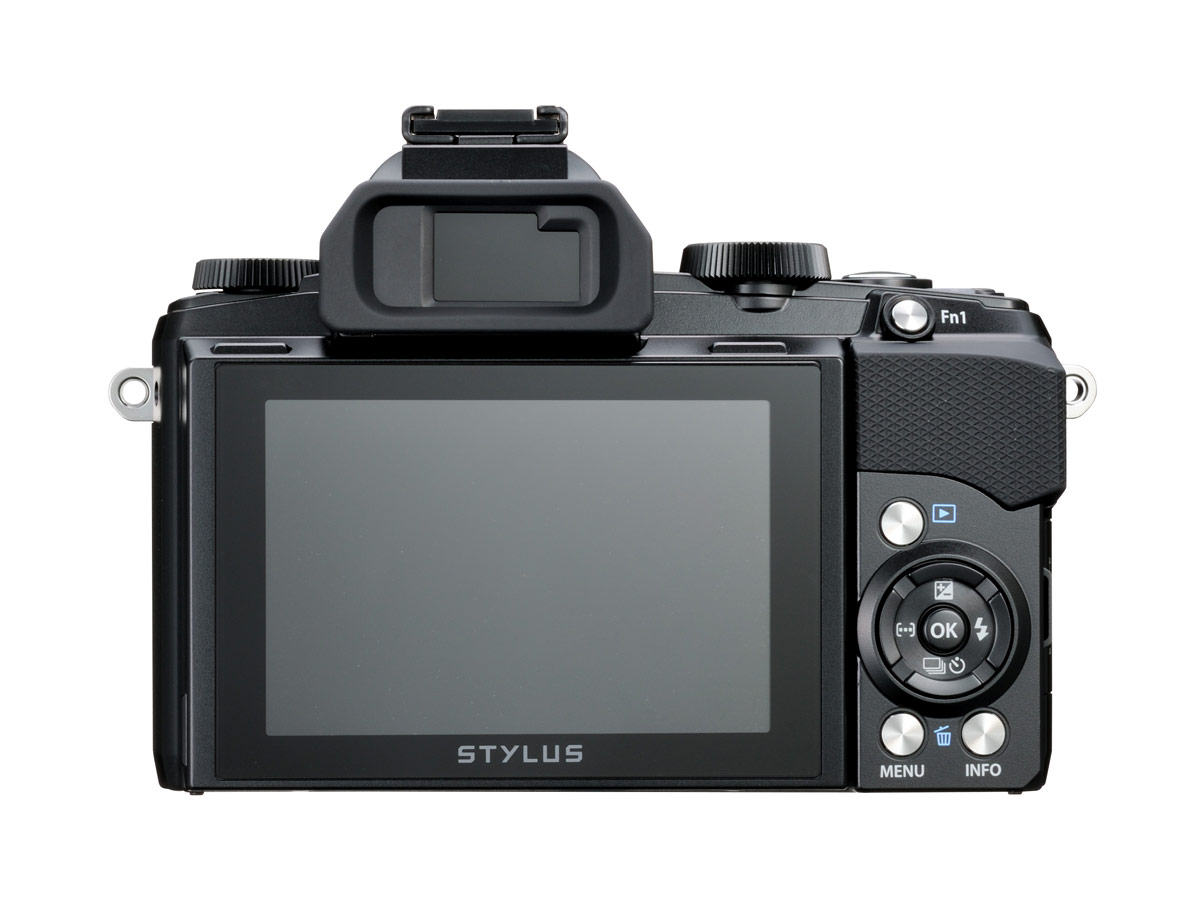 Olympus Stylus 1 - Rear View With 3-inch, Tilting Touchscreen Display