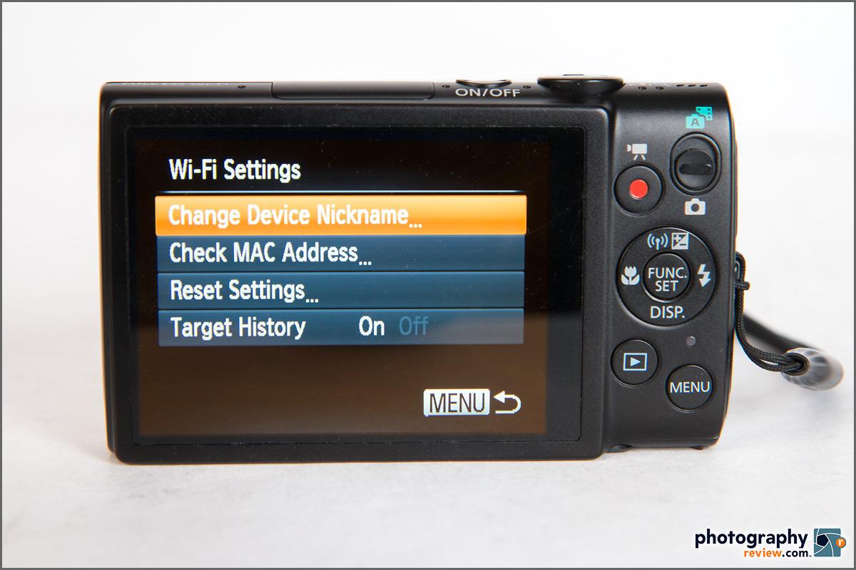 Canon PowerShot ELPH 330 HS - Wi-Fi Menu
