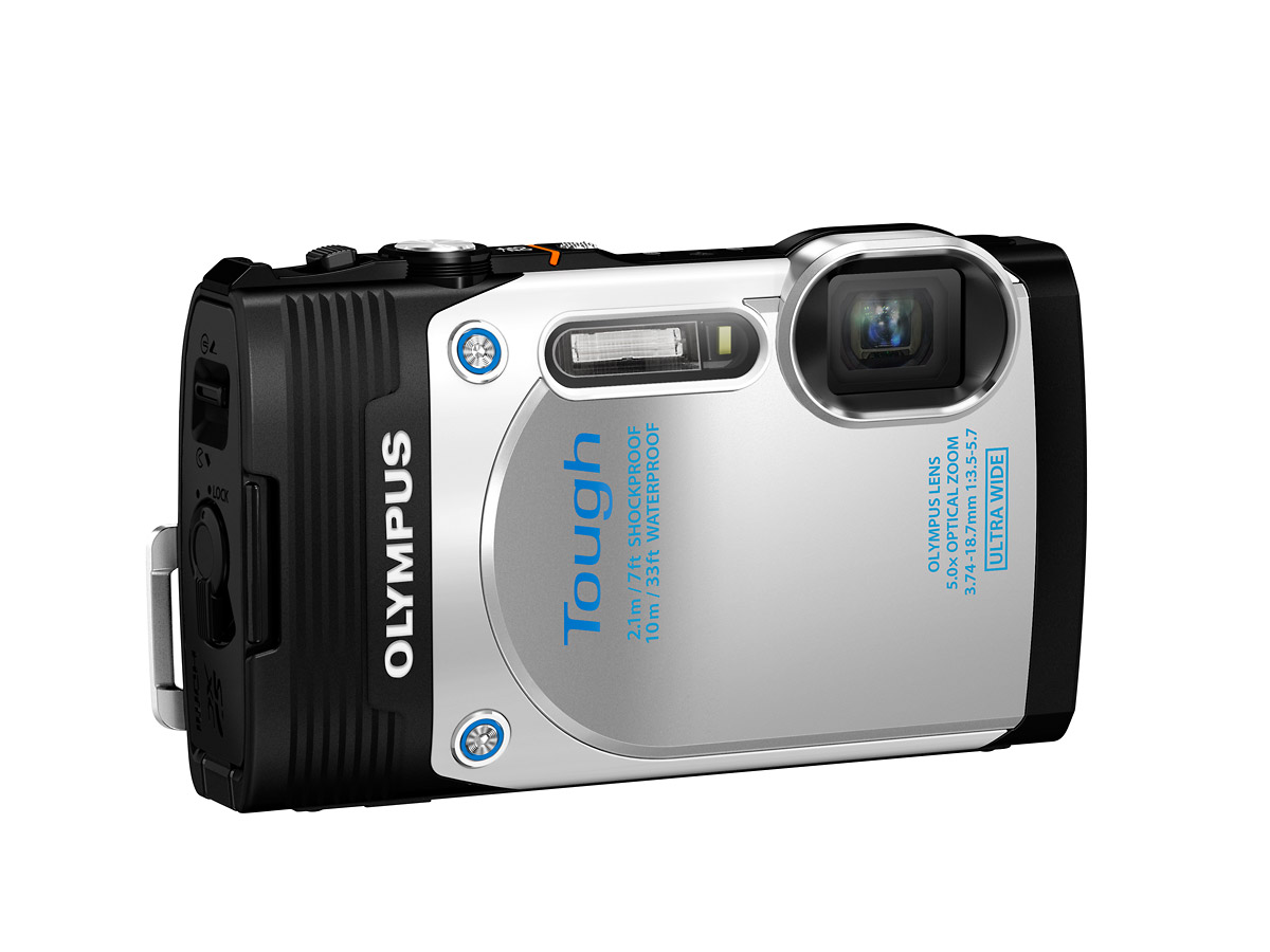 Olympus Stylus Tough TG-850 Waterproof P&S - White - Angle