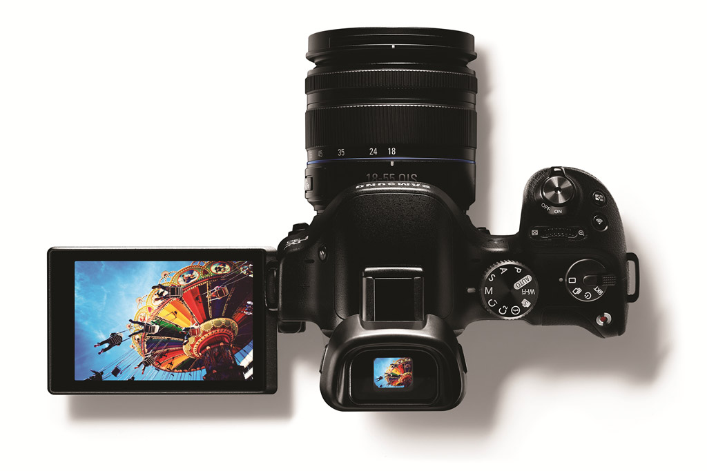 Samsung NX30 - Top View With Articulated LCD & Tilting EVF
