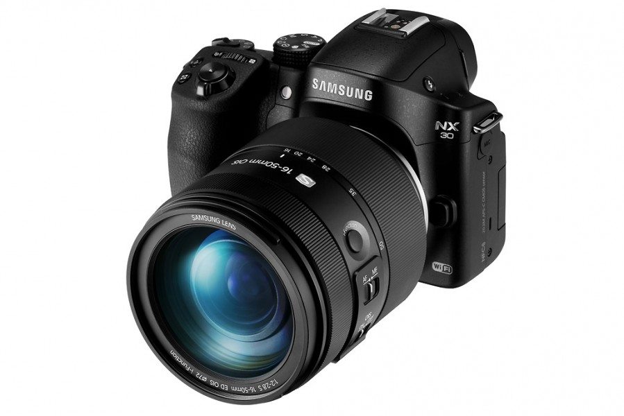 Samsung NX30 - Front Left With 16-50mm f/2-2.8 Zoom Lens