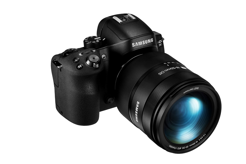 Samsung NX30 - Front Right With 16-50mm f/2-2.8 Zoom Lens