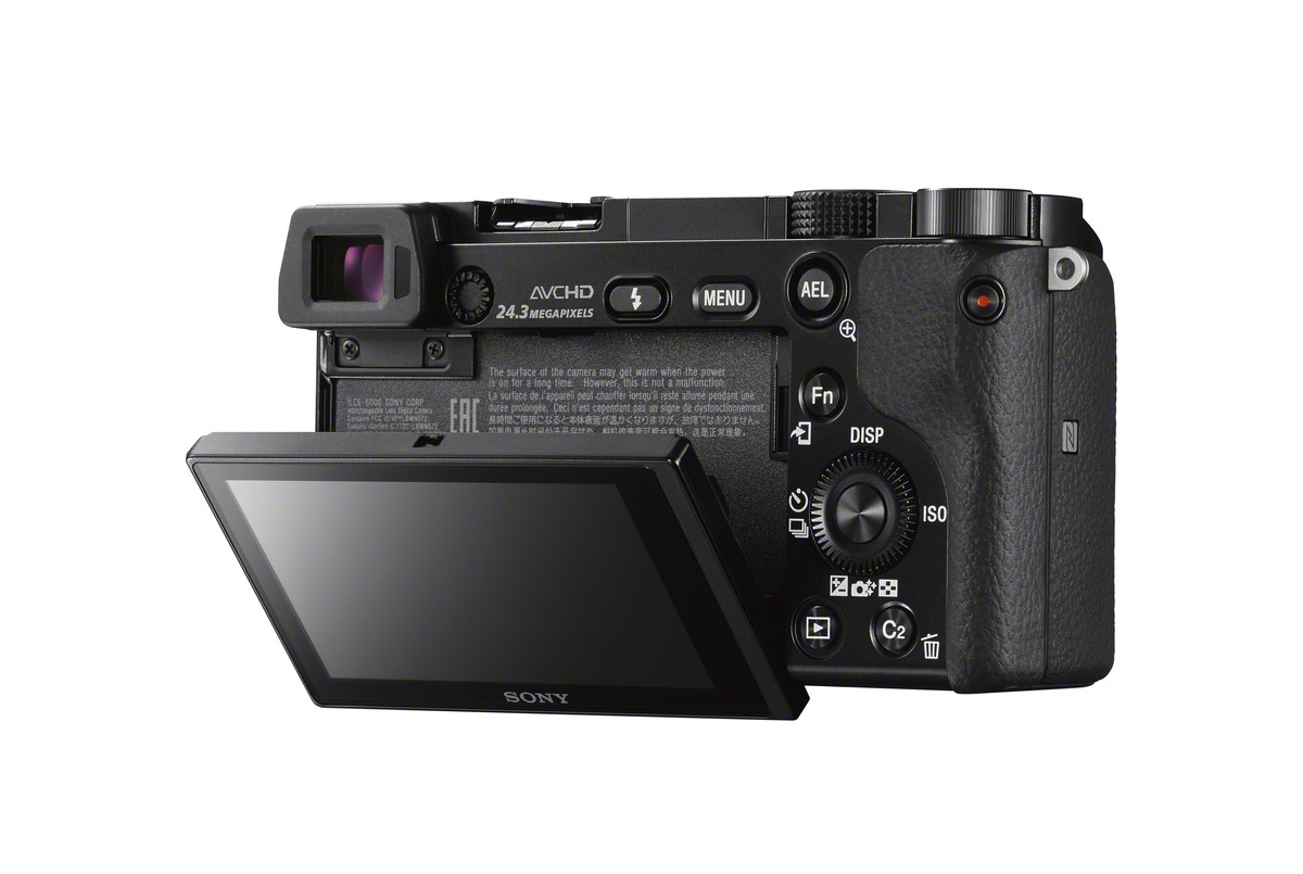 Sony Alpha A6000 Mirrorless Camera - Rear LCD Display - Tilted Down
