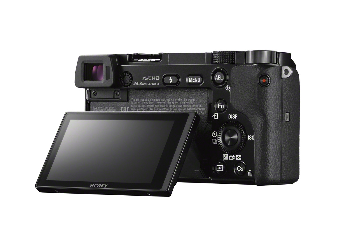Sony Alpha A6000 Mirrorless Camera - Rear LCD Display - Tilted Up